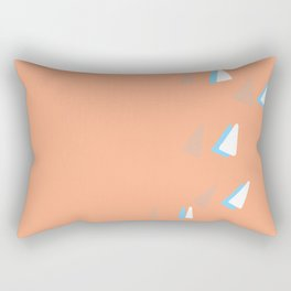 Swoop - Peach and White Contemporary Rectangular Pillow