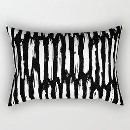 Vertical Dash White on Black Paint Stripes Rectangular Pillow