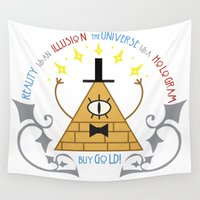 bill Wall Tapestries featuring Bill Cipher by Grace T