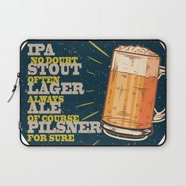 Beer always, vintage poster, circle, blue Laptop Sleeve