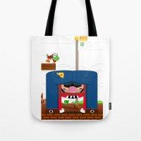 mario Tote Bags featuring Mario by Ryan Miller