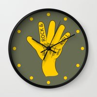 rock and roll Wall Clocks featuring Palmistry Rock and Roll by mailboxdisco