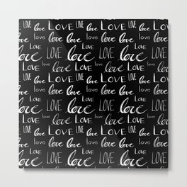 Painted Love on Black Metal Print