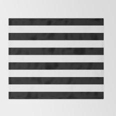 Stripe Black & White Horizontal Throw Blanket