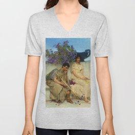 "Sir Lawrence Alma-Tadema ""An eloquent silence"" Unisex V-Neck"