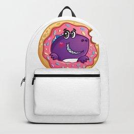 Funny cartoon dinosaur with a big donut Backpack