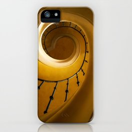 Brown and golden spiral staircase iPhone Case