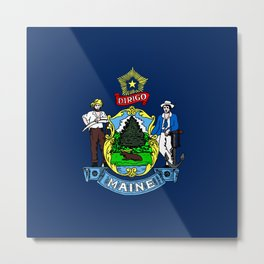 Maine State Flag Metal Print