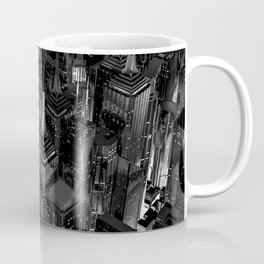 Night city glow B&W / 3D render of night time city lit from streets below in black and white Coffee Mug
