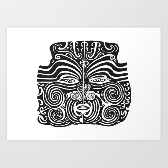 cd6aa0fee Maori Moko | Tribal Tattoo | New Zealand | Black and White Art Print by  eclecticatheart | Society6