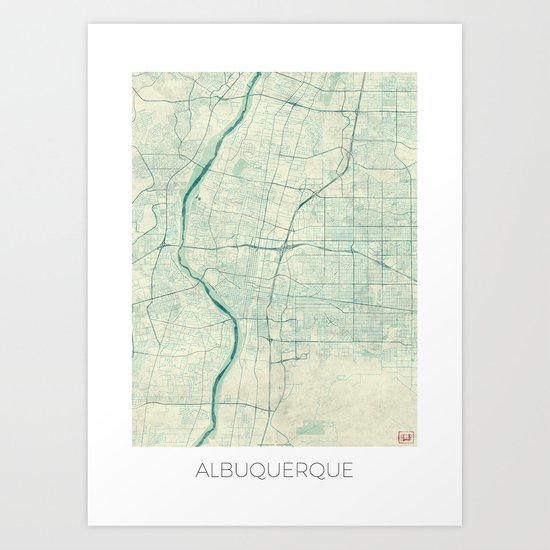 Albuquerque Map Blue Vintage Art Print