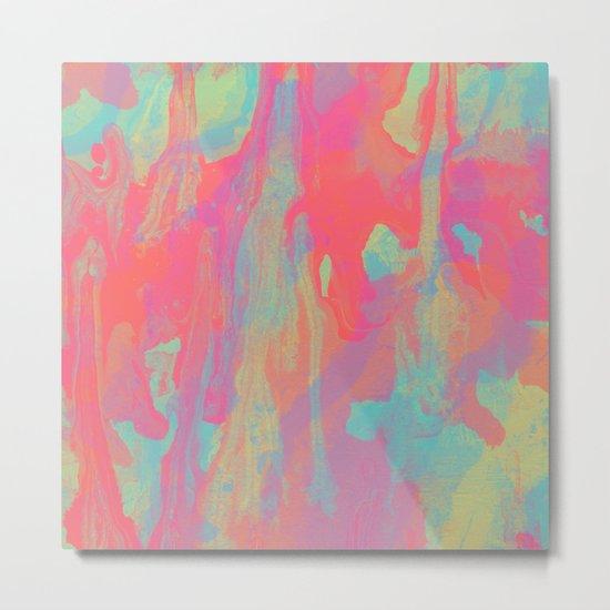 Neon Marble Metal Print