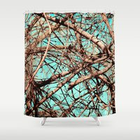 tangled Shower Curtains featuring Tangled by Slava Bowman