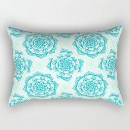 Aqua Mandala Rectangular Pillow