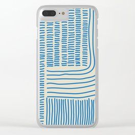 Digital Stitches thick beige + blue Clear iPhone Case