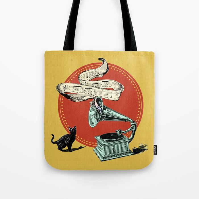 The Cat and the Cat Song (red) Tote Bag