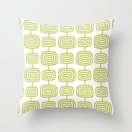 Mid Century Modern Atomic Rings Pattern Chartreuse 3 Throw Pillow