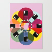 nail polish Canvas Prints featuring Designer Nail Polish Print by BeckiBoos