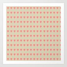 Pastel Heart Valentine Pattern Background Art Print