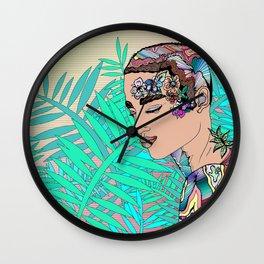 Stay Wild Flower Child Illustration Wall Clock