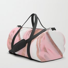 Rose Gold Pink Girly Modern Painted Marble Duffle Bag