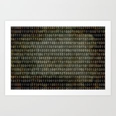 The Binary Code - Distressed textured version Art Print