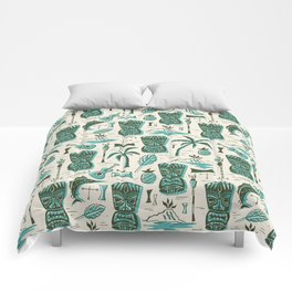 Tropical Tiki - Cream & Aqua Comforters