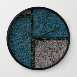 Blue and White Pavement Tiles Wall Clock