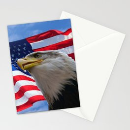 American Flag and Bald Eagle Stationery Cards