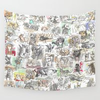 dogs Wall Tapestries featuring Dogs by James Culleton