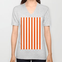 Narrow Vertical Stripes - White and Dark Orange Unisex V-Neck
