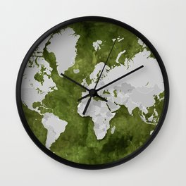 Moss green watercolor and grey world map with outlined countries Wall Clock