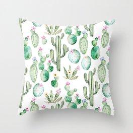 Cactus Summer Garden Throw Pillow