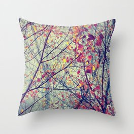 trees misty morning Throw Pillow