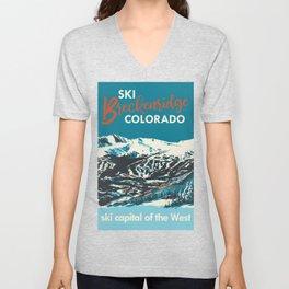 Breckenridge Vintage Ski Poster Unisex V-Neck