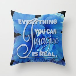 Everything You can Imagine – Blue Lilly Throw Pillow
