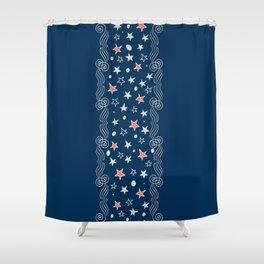 Scrolls Vertical Border Shower Curtain