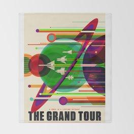 NASA Outer Space Saturn Shuttle Retro Poster Futuristic Explorer Throw Blanket