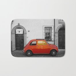 Red Italian car in Rimini Black and White Photography Bath Mat