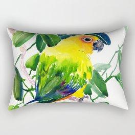 Sun Conure Parakeet, jungle tropical colors, parrot yellow deep green bright colored home decor Rectangular Pillow