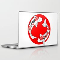 japanese Laptop & iPad Skins featuring Japanese Kois by Art & Be