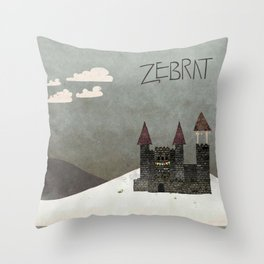 At the Castle - inspired by Zebrat Throw Pillow