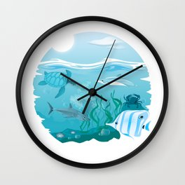 Tropical Marine Life Wall Clock