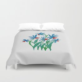 Hand painted watercolor floral blue and red flowers Duvet Cover