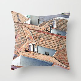 Old houses with tiled roofs Throw Pillow