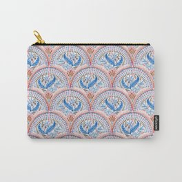Art Deco Fresco in Sky Blue and Coral Carry-All Pouch