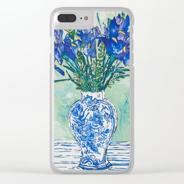 Iris Bouquet in Chinoiserie Vase on Blue and White Striped Tablecloth on Painterly Mint Green Clear iPhone Case
