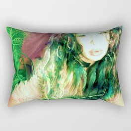 Fairy feather  fairy goddess green feathers  kashmir,art print  Rectangular Pillow