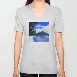 Tropical Paradise Island Beach in French Polynesia Unisex V-Neck
