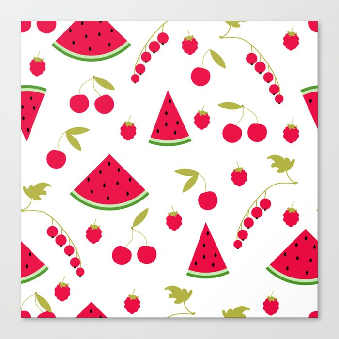 Pattern watermelon cherry raspberry currant Canvas Print